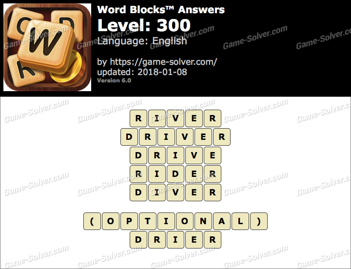 Word Blocks Level 300 Answers