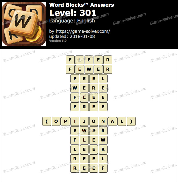 Word Blocks Level 301 Answers