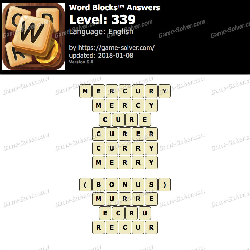 Word Blocks Level 339 Answers