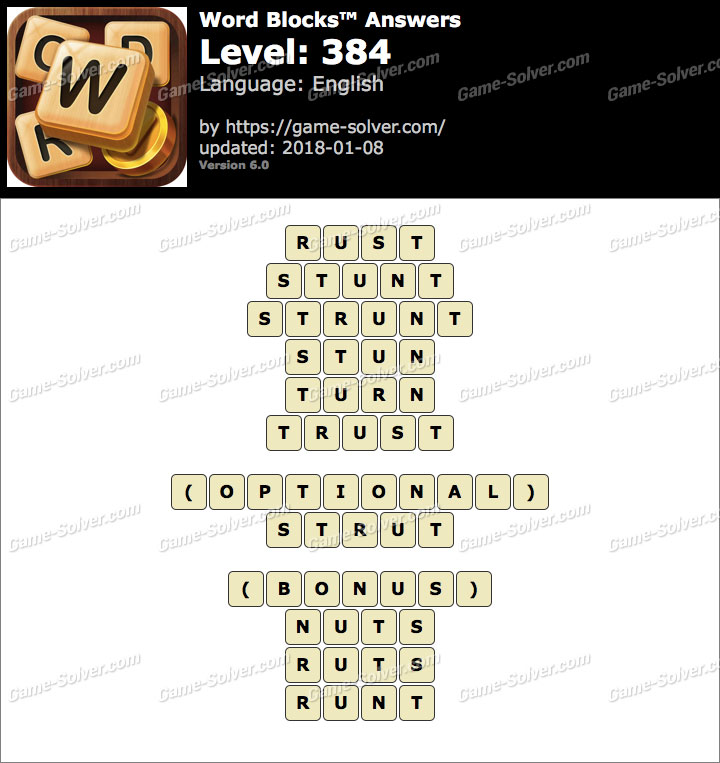 Word Blocks Level 384 Answers