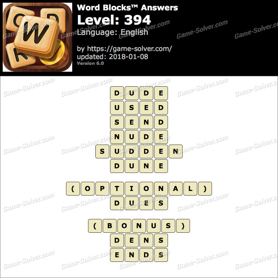 Word Blocks Level 394 Answers