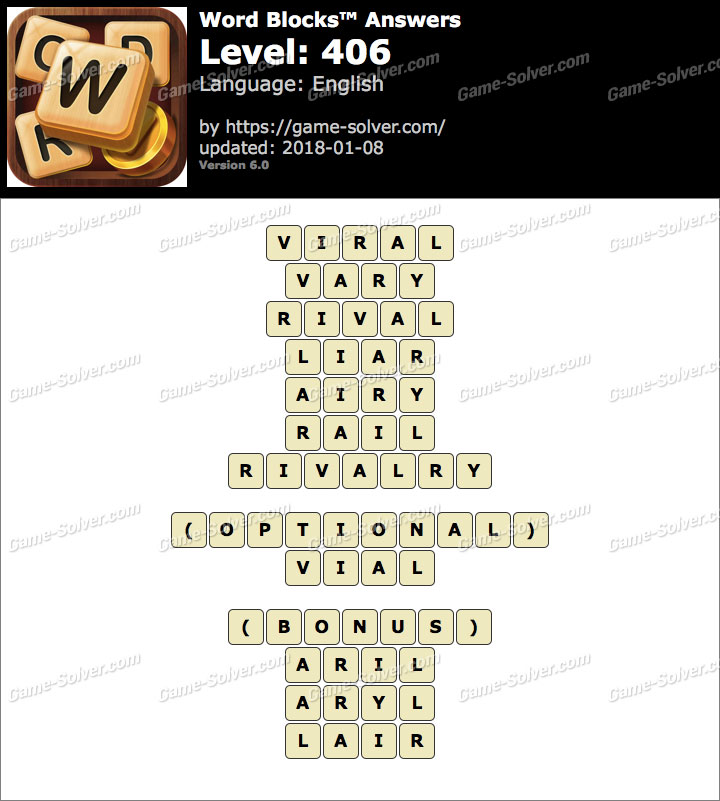 Word Blocks Level 406 Answers