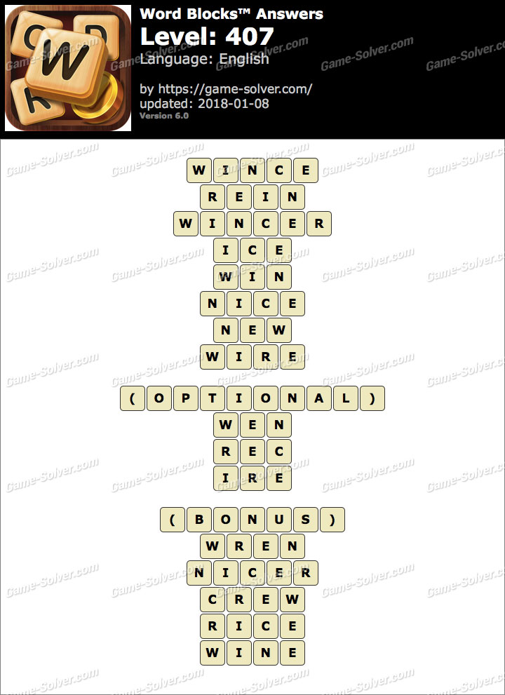 Word Blocks Level 407 Answers