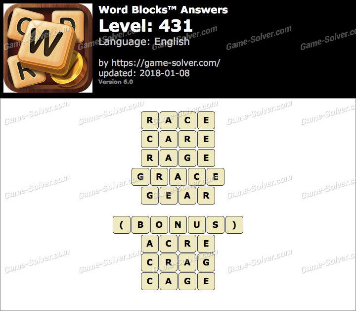 Word Blocks Level 431 Answers