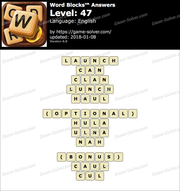 Word Blocks Level 47 Answers
