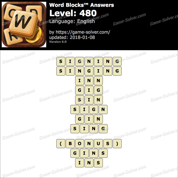 Word Blocks Level 480 Answers