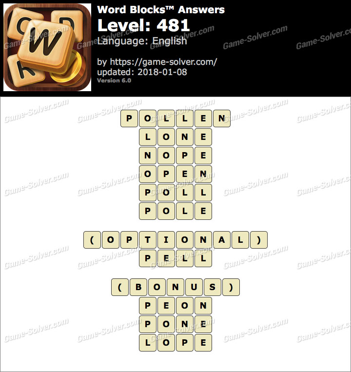 Word Blocks Level 481 Answers