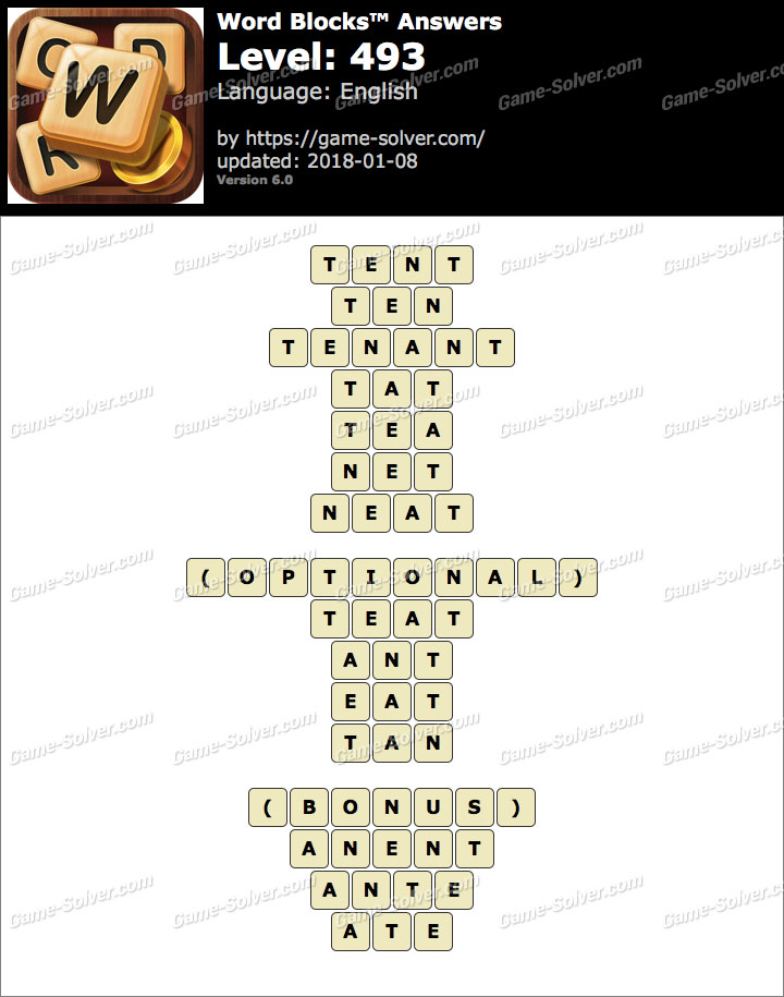 Word Blocks Level 493 Answers