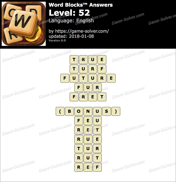 Word Blocks Level 52 Answers