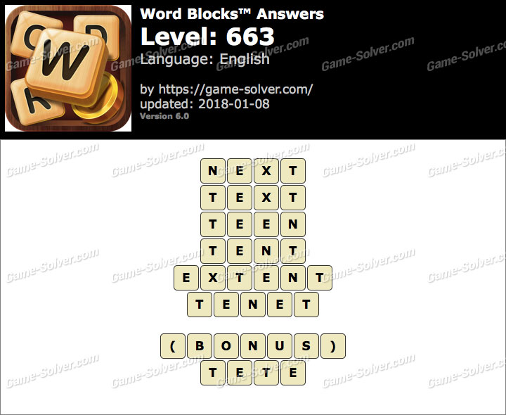 Word Blocks Level 663 Answers