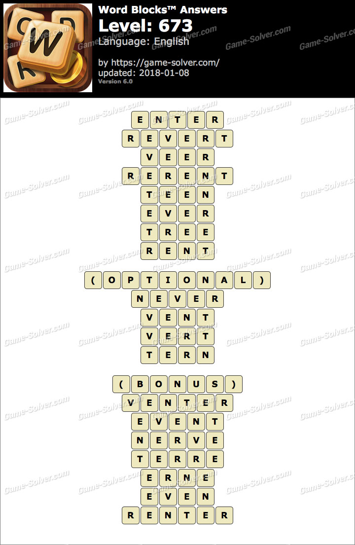 Word Blocks Level 673 Answers
