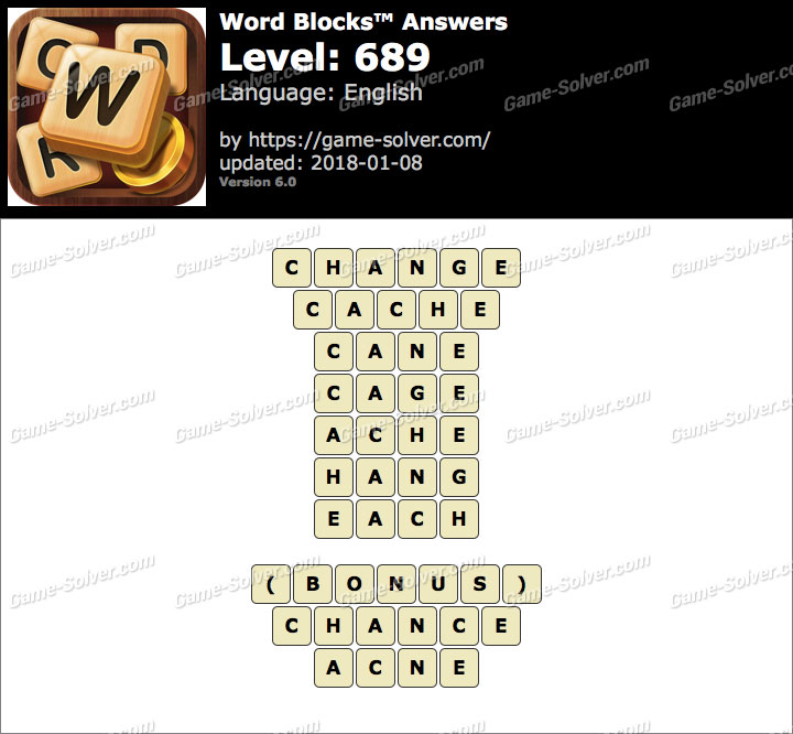 Word Blocks Level 689 Answers