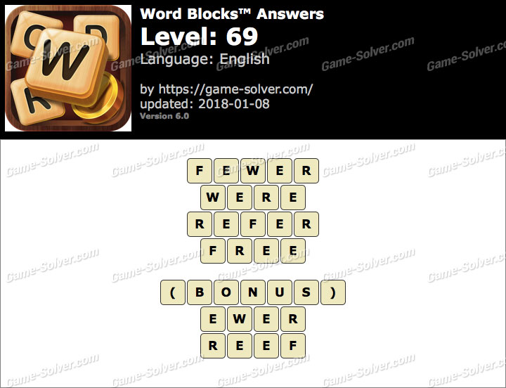 Word Blocks Level 69 Answers