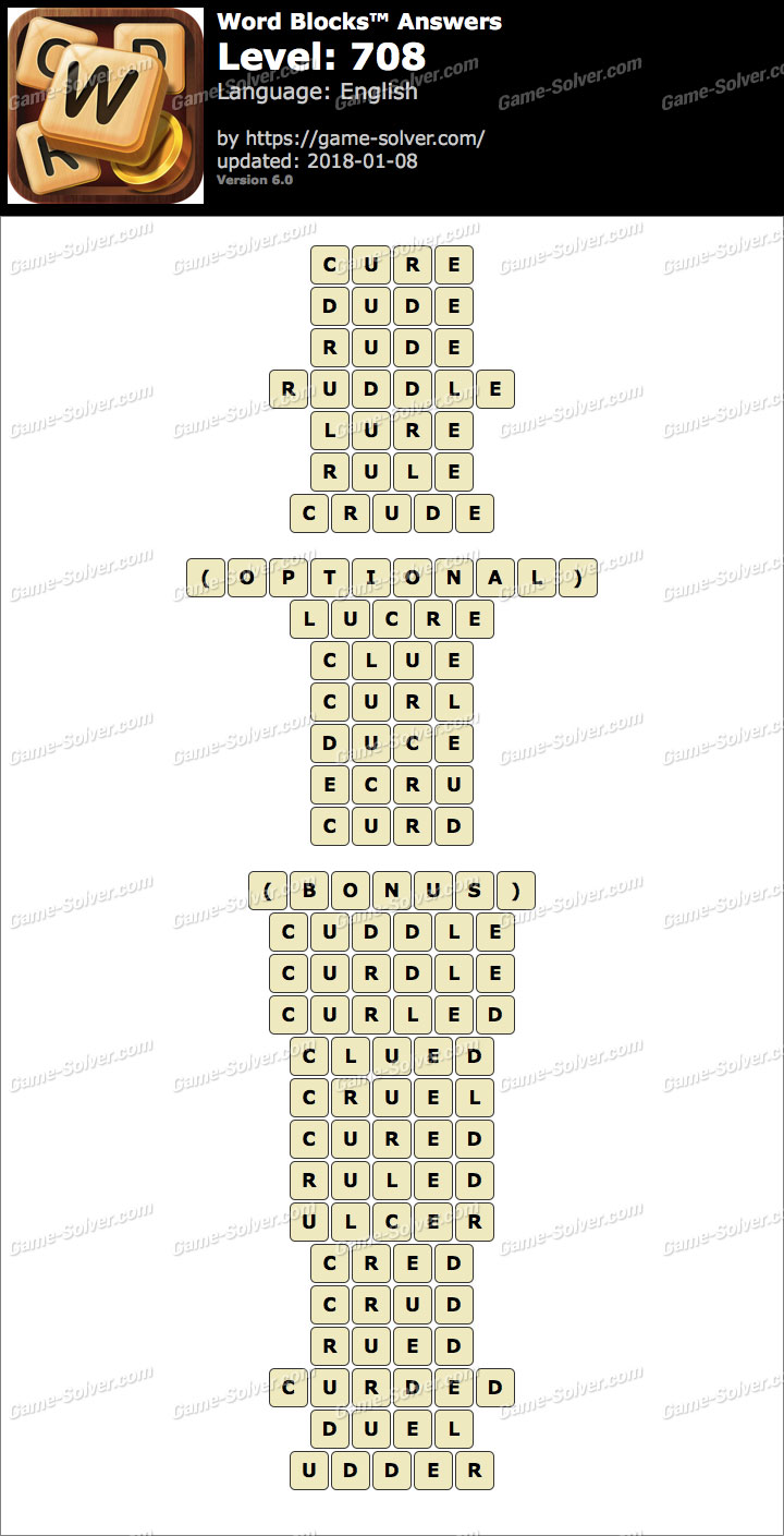 Word Blocks Level 708 Answers