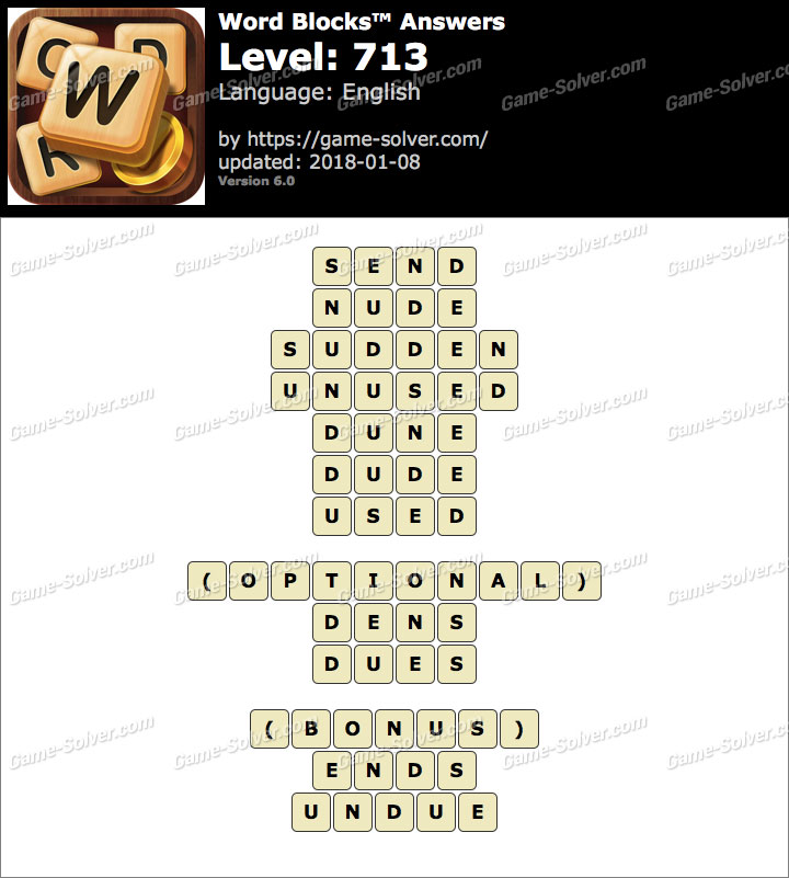 Word Blocks Level 713 Answers