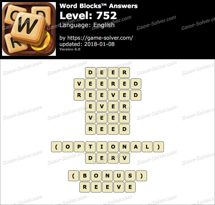 Word Blocks Level 752 Answers