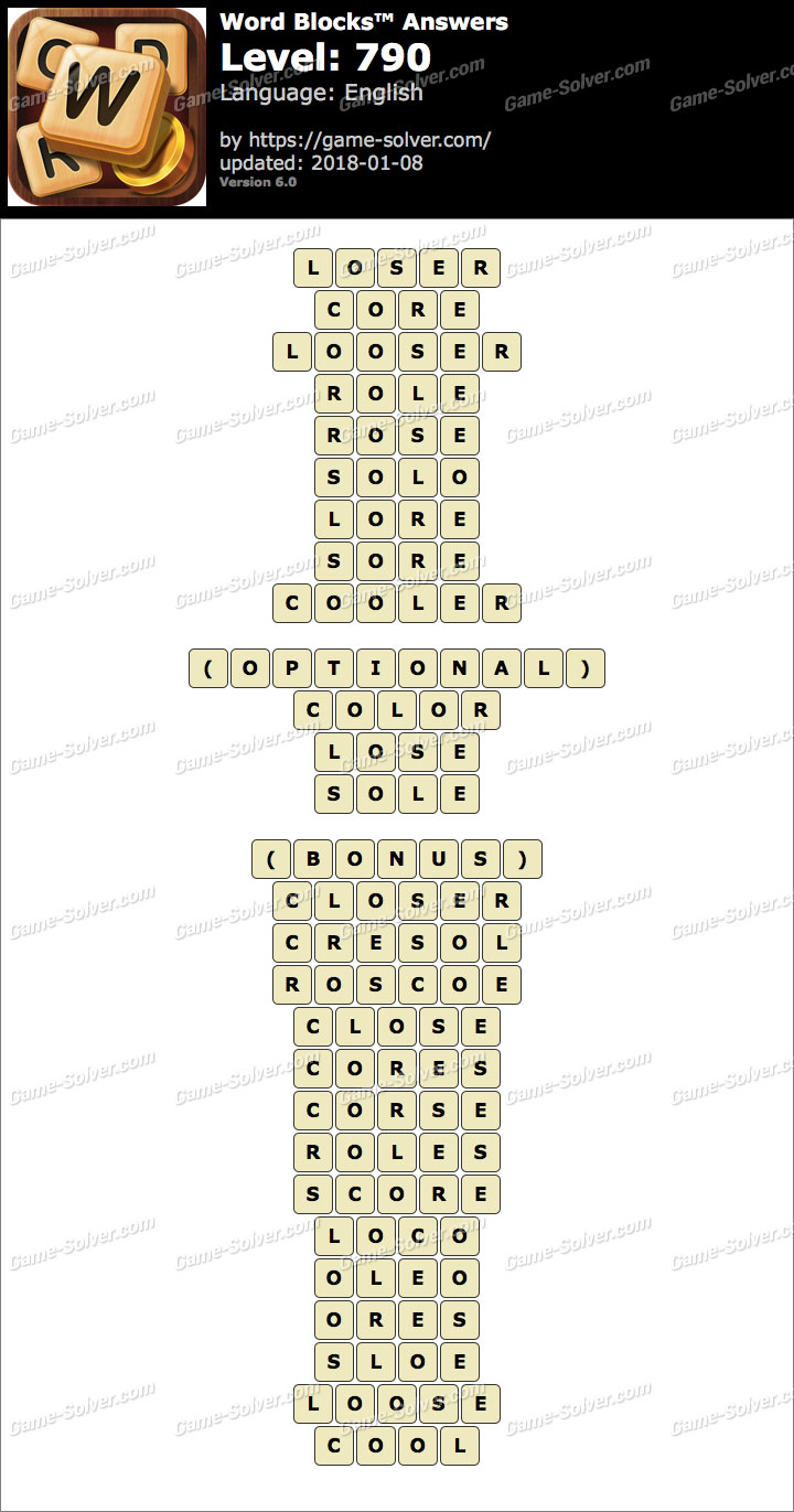 Word Blocks Level 790 Answers