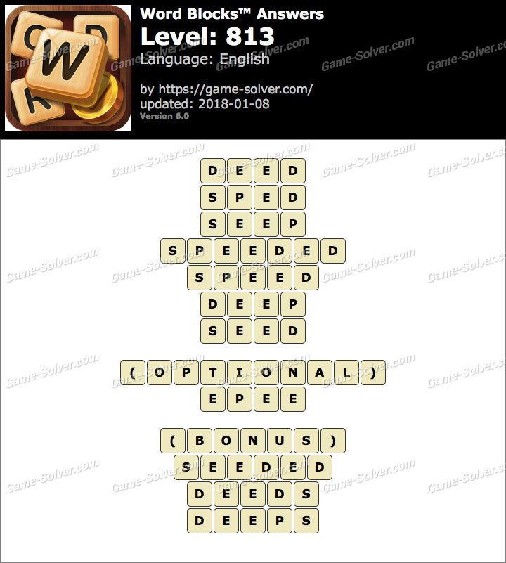 Word Blocks Level 813 Answers