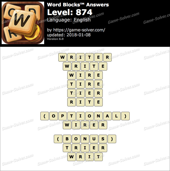 Word Blocks Level 874 Answers