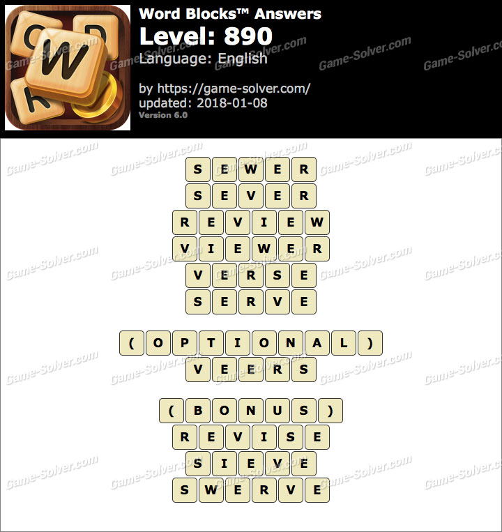 Word Blocks Level 890 Answers