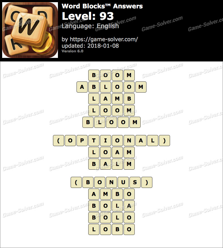 Word Blocks Level 93 Answers