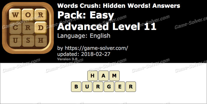 Words Crush Easy-Advanced Level 11 Answers