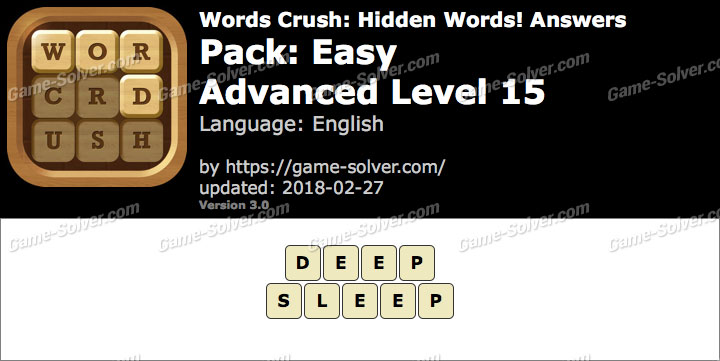 Words Crush Easy-Advanced Level 15 Answers