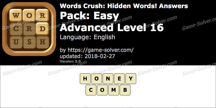 Words Crush Easy-Advanced Level 16 Answers