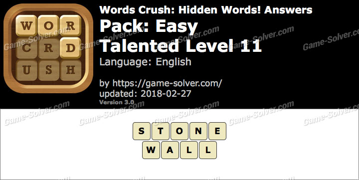 Words Crush Easy-Talented Level 11 Answers