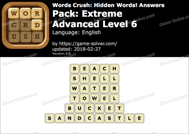 Words Crush Extreme-Advanced Level 6 Answers