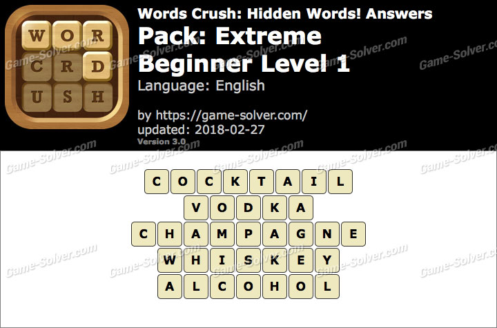 Words Crush Extreme-Beginner Level 1 Answers