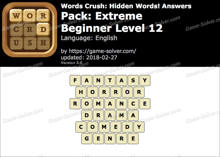 Words Crush Extreme-Beginner Level 12 Answers