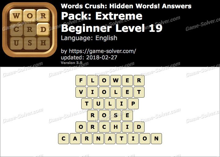 Words Crush Extreme-Beginner Level 19 Answers