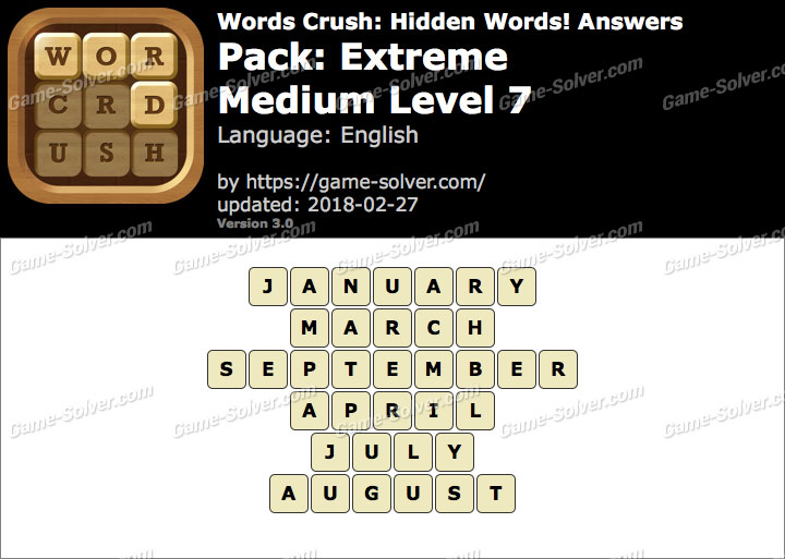 Words Crush Extreme-Medium Level 7 Answers