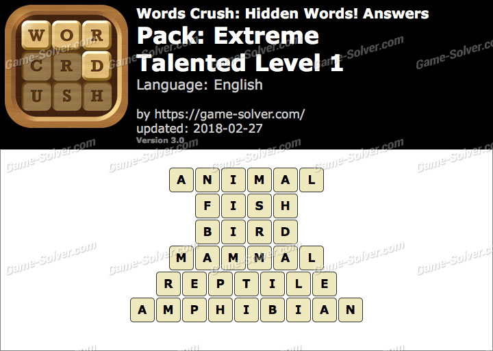 Words Crush Extreme-Talented Level 1 Answers