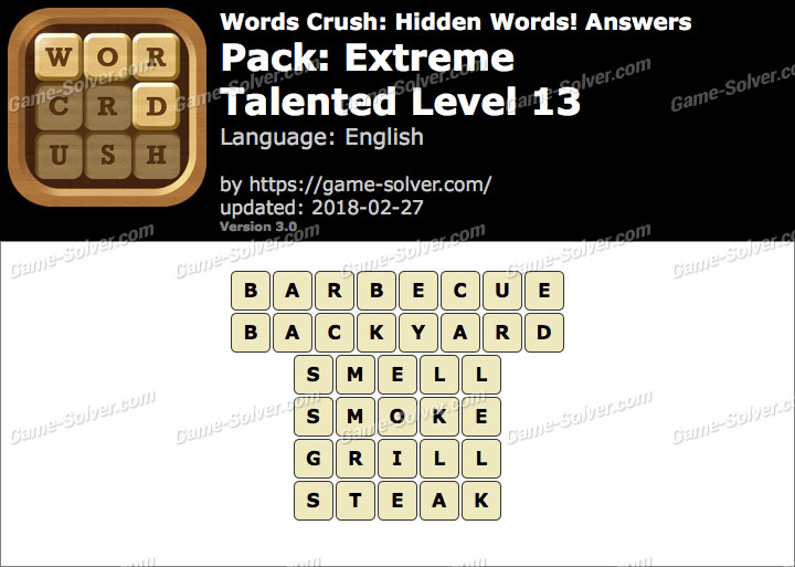 Words Crush Extreme-Talented Level 13 Answers