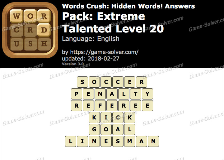 Words Crush Extreme-Talented Level 20 Answers