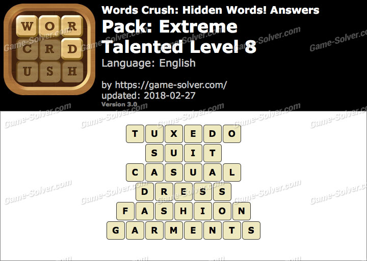 Words Crush Extreme-Talented Level 8 Answers