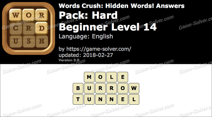 Words Crush Hard-Beginner Level 14 Answers