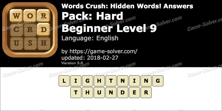 Words Crush Hard-Beginner Level 9 Answers