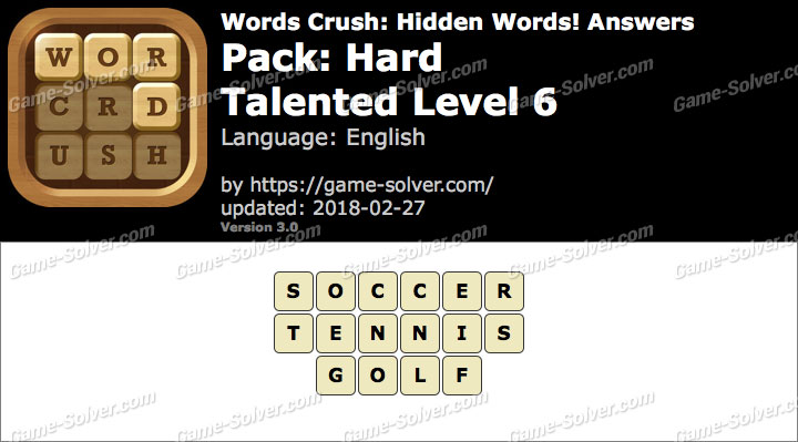 Words Crush Hard-Talented Level 6 Answers