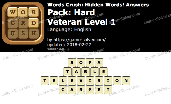 Words Crush Hard-Veteran Level 1 Answers
