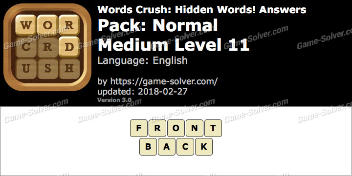 Words Crush Normal-Medium Level 11 Answers