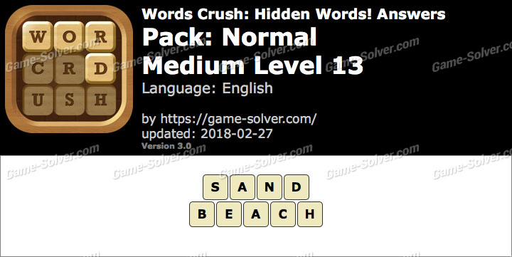 Words Crush Normal-Medium Level 13 Answers