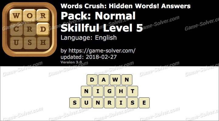Words Crush Normal-Skillful Level 5 Answers
