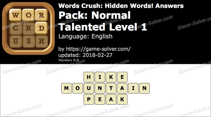 Words Crush Normal-Talented Level 1 Answers