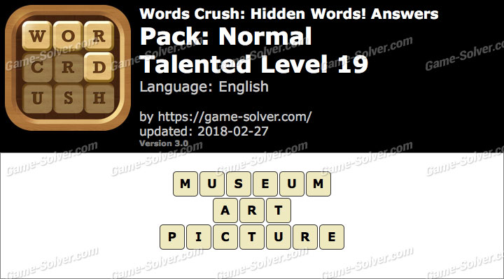 Words Crush Normal-Talented Level 19 Answers