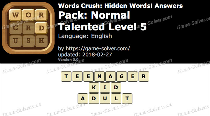 Words Crush Normal-Talented Level 5 Answers