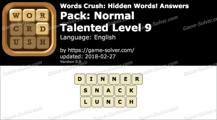 Words Crush Normal-Talented Level 9 Answers