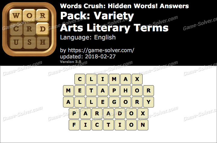 Words Crush Variety-Arts Literary Terms Answers